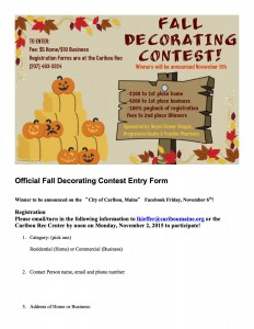 Fall Decorating Contest Entry Form